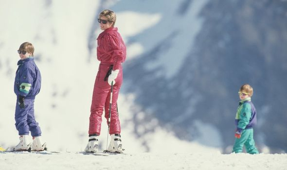 William, Diana and Harry on their skiing trip