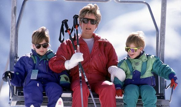 William, Harry and Diana on a skiing trip