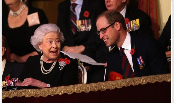William: With his grandmother, the Queen