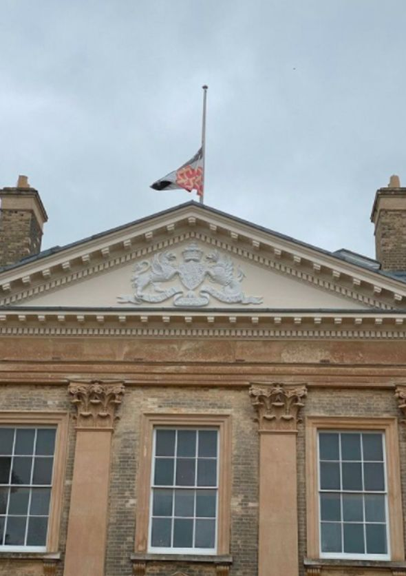 flag at half-mast at Althorp House