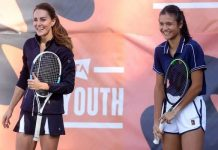 Picture of Emma Raducanu and Kate Middleton playing tennis together