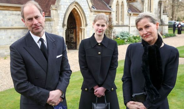Picture of Lady Louise and her parents outside church