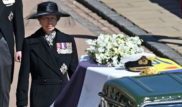 Princess Anne walked behind her father's casket