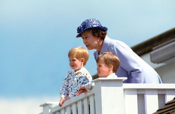 The Queen, Prince Harry and Prince William