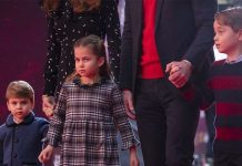 The Duke and Duchess of Cambridge and their children, Prince Louis, Princess Charlotte and Prince George attend a special pantomime performance at London's Palladium Theatre