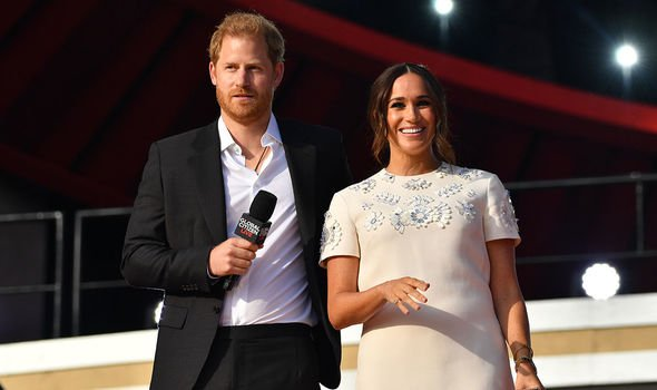 Global Citizen: The pair pictured in their first joint public appearance since Lilibet's birth
