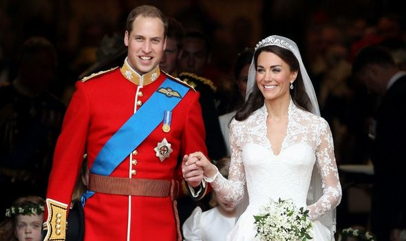 Kate Middleton with Prince William on their wedding day