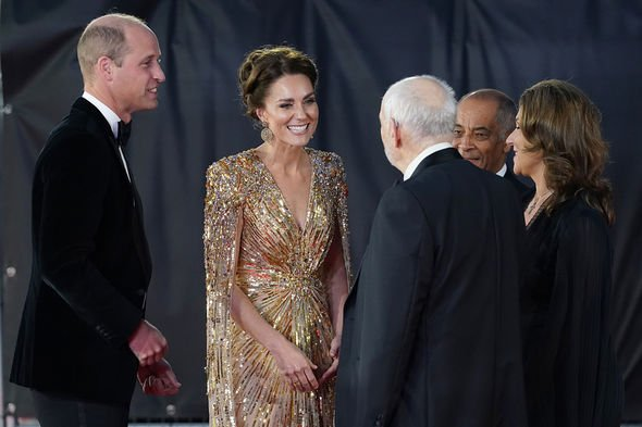 The Duke and Duchess of Cambridge are greeted by Barbara Broccoli and Michael G. Wilson (left) as they arrive for the World Premiere of No Time To Die