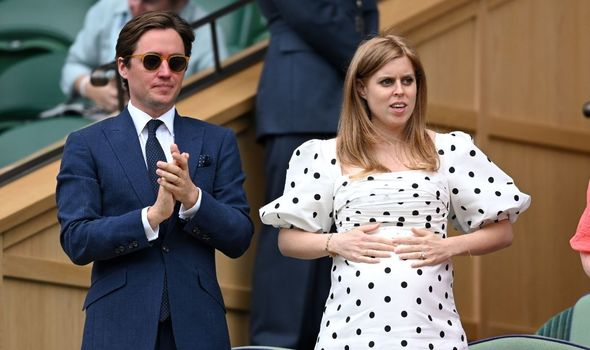 Picture of Princess Beatrice and her husband at Wimbledon