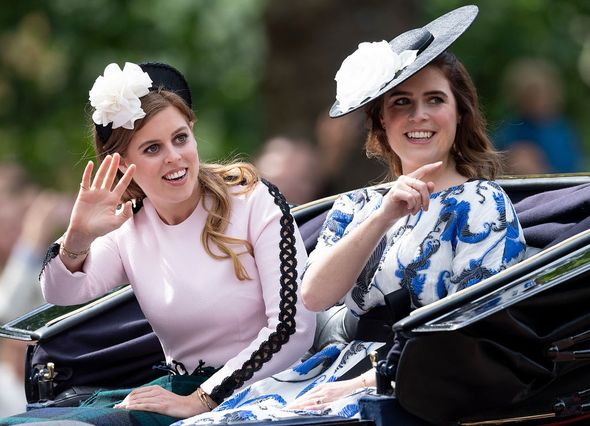Princess Eugenie and Princess Beatrice during Trooping The Colour 2019