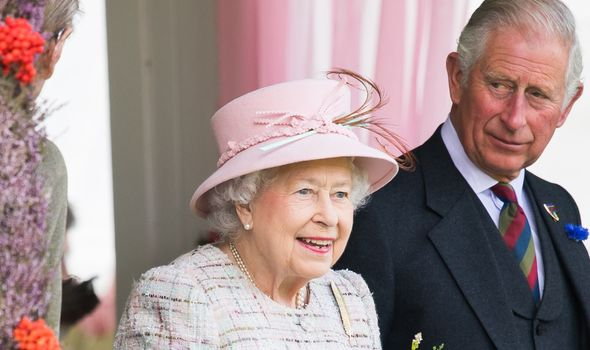 Queen Elizabeth II pictured with Prince Charles