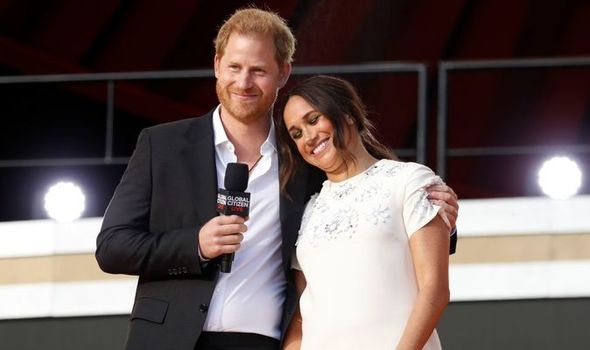 Picture of Meghan and Harry onstage during Global Citizen Live