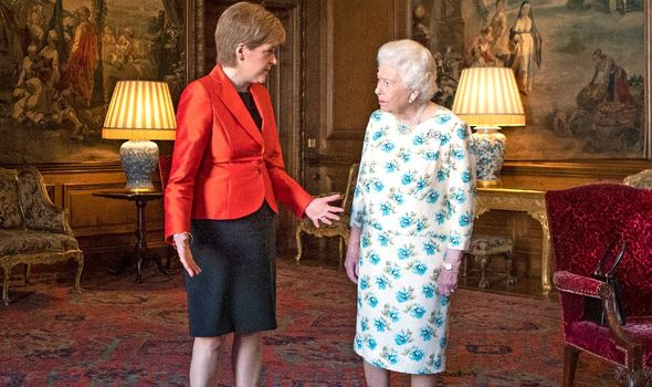 The Queen during an audience with Nicola Sturgeon in July