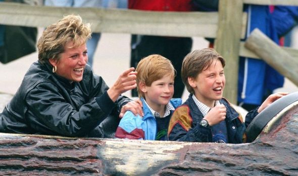 Picture of Prince Harry and William with their mother Diana