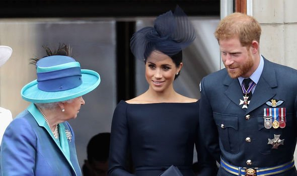 The Queen with her grandson Prince Harry and his wife Meghan Markle