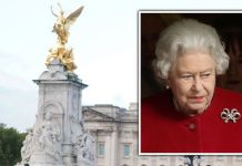 A TV news crew works outside Buckingham Palace in central London: Friday October 22, 2021 / File photo dated 04/03/13 of Queen Elizabeth II leaving Ki